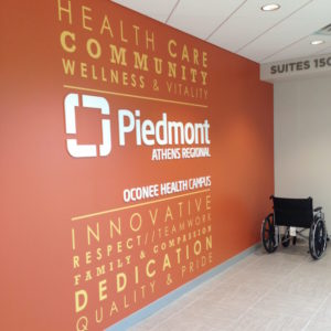 Piedmont Hospital wall graphic and sign