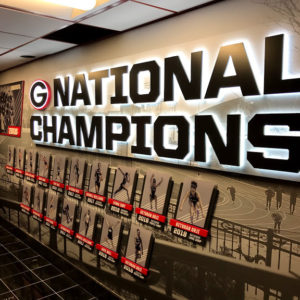 athletic facility interior signage