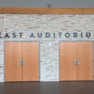 east auditorium wall text